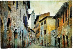 Medieval Tuscany. Streets of San Gimignano. Artistic Picture by Maugli-l