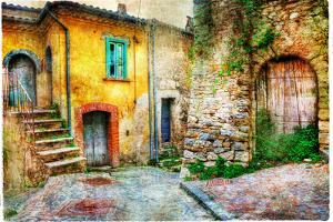 Old Streets of Medieval Villages of Italy, Artistic Picture by Maugli-l