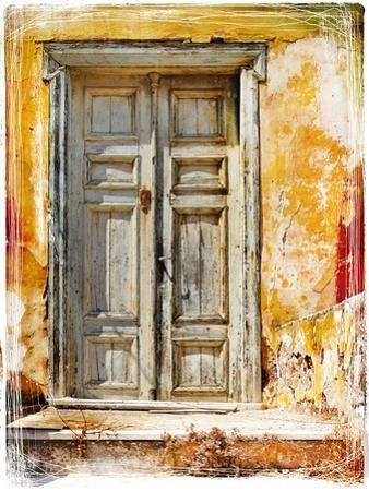 Old Traditional Greek Doors - Artwork In Painting Style by Maugli-l