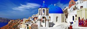 Panorama of Beautiful Oia Village - Santorini,Greece by Maugli-l