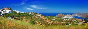 Panorama of Scenic Patmos Island. View of Chora and Monastery. G by Maugli-l