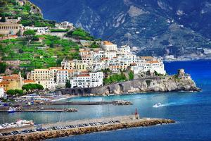 Pictorial Coastal Town Amalfi , Italy by Maugli-l