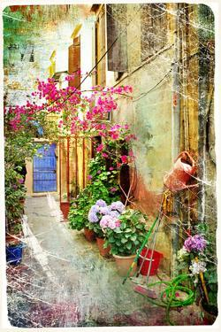Pictorial Courtyards Of Greece- Artwork In Retro Painting Style by Maugli-l