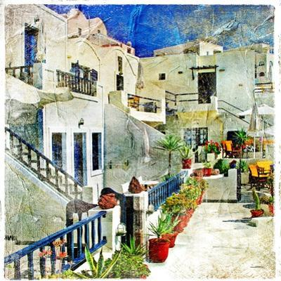 Pictorial Courtyards Of Santorini -Artwork In Painting Style by Maugli-l