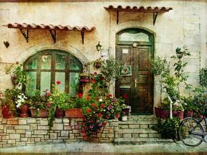 Pictorial Greek Villages Artwork in Retro Style by Maugli-l