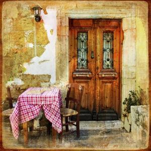 Pictorial Old Greek Streets With Tavernas - Retro Styled Picture by Maugli-l