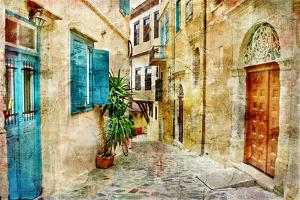 Pictorial Old Streets Of Greece - Picture In Painting Style by Maugli-l