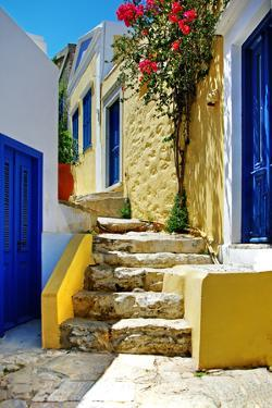 Pretty Colored Streets of Greek Islands by Maugli-l
