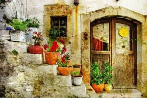 Pretty Village Greek Style - Artwork In Retro Style by Maugli-l