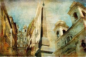 Rome - Spanish Steps - Artistic Collage in Painting Style by Maugli-l