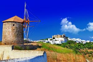 Scenic Greece . Patmos Island. View of Chora and Windmills by Maugli-l