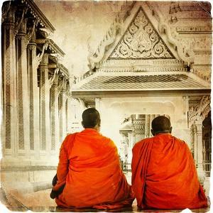 Two Monks In Thai Temple - Artistic Toned Picture In Retro Style by Maugli-l