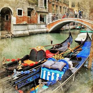 Venice. Gondolas. Artwork In Painting Style by Maugli-l