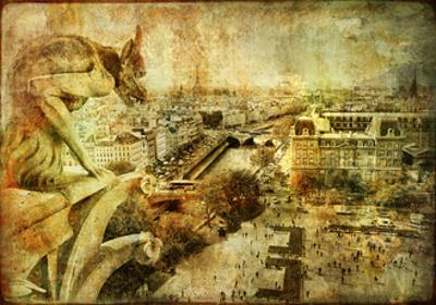 View Of Paris From Notre Dame - Artwork In Retro Style by Maugli-l