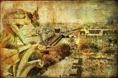View Of Paris From Notre Dame - Artwork In Retro Style