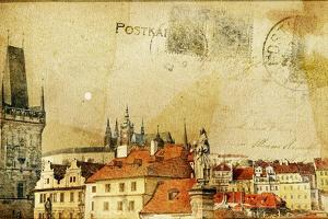 Vintage Post Card Series- Cities- Prague by Maugli-l