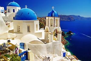 White-Blue Santorini - View of Caldera with Churches by Maugli-l