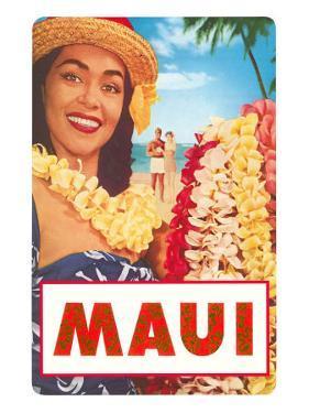 Maui, Hawaiian Lady with Frangipani Leis
