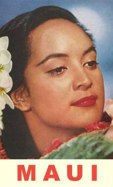 Maui, Hawaiian Lady with Frangipanis in Hair