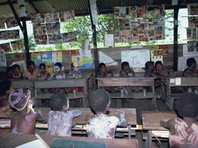 Children at School, Tambanum Village, Sepik, Papua New Guinea