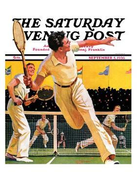"""""""Doubles Tennis Match,"""" Saturday Evening Post Cover, September 5, 1936 by Maurice Bower"""