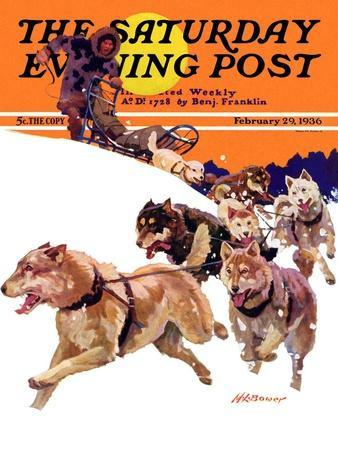 """""""Eskimo and Dog Sled,"""" Saturday Evening Post Cover, February 29, 1936"""