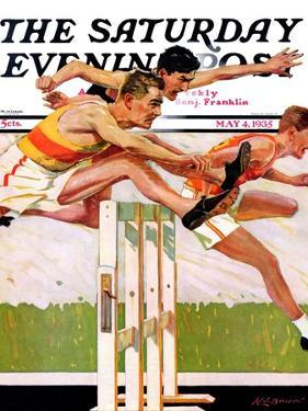 """Hurdlers,"" Saturday Evening Post Cover, May 4, 1935 by Maurice Bower"