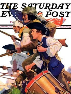 """Minutemen,"" Saturday Evening Post Cover, June 13, 1936 by Maurice Bower"