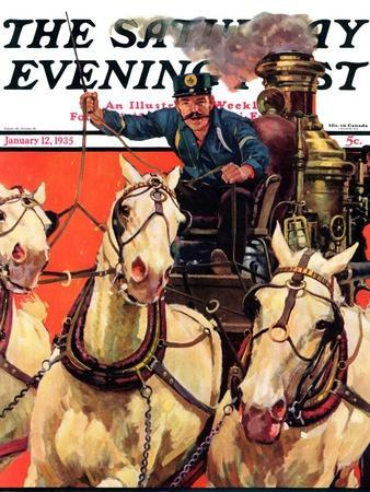 """""""Racing to the Fire,"""" Saturday Evening Post Cover, January 12, 1935"""