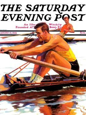 """""""Sculling Race,"""" Saturday Evening Post Cover, August 15, 1936 by Maurice Bower"""