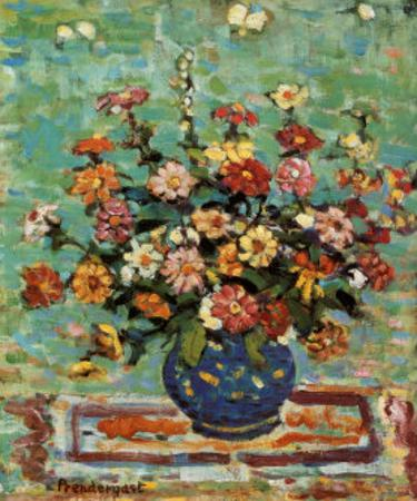 Flowers In A Blue Vase by Maurice Brazil Prendergast