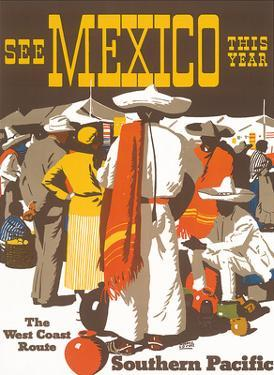 Southern Pacific Railroad: See Mexico This Year, c.1935 by Maurice Lorand