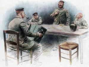 Sentimental Ballad in the Canteen, German Prisoners of War in Dinan, France, 1915 by Maurice Orange