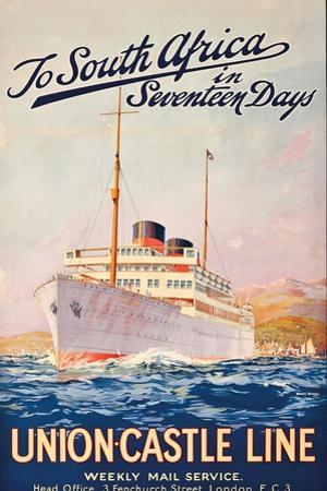 To South Africa in Seventeen Days', an Advertising Poster for Union Castle Line by Maurice Randall