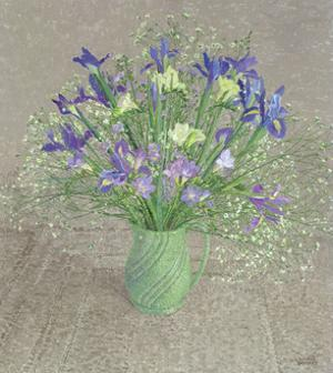 Still Life with Blue and White Freesias, Iris and Michaelmas Daisies by Maurice Sheppard