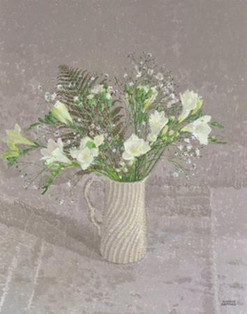 Still Life with Freesias, White Carnation and a Fern by Maurice Sheppard