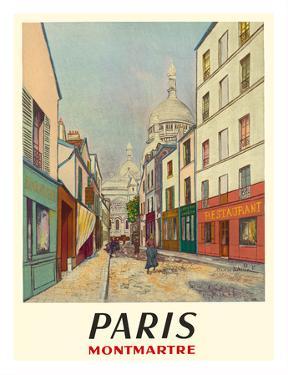 Paris, France - Butte Montmartre - Basilica of the Sacré-Cœur - Rue du Chevalier de la Barre by Maurice Utrillo