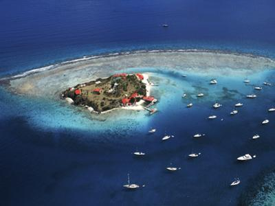 Aerial View of Marina Cay Island and Fringing Reef