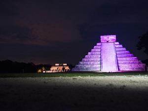 'The Castle' in Purple Light with the 'Temple of the Jaguars' Behind It by Mauricio Handler