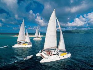 Three Catamaran Sailboats in Sandy Cay, Tortola by Mauricio Handler