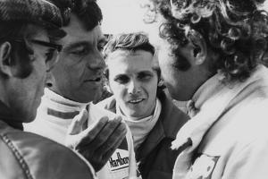 Mauro Forghieri, Alex Soler-Roig, Niki Lauda and Jocken Mass at Zandvoort, 1972
