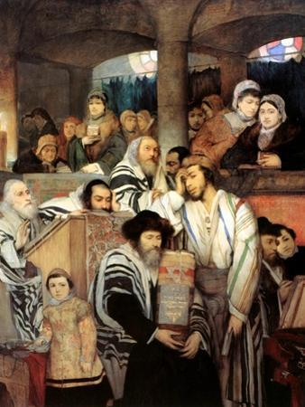 Jews Praying in the Synagogue on Yom Kippur, 1878 by Maurycy Gottlieb