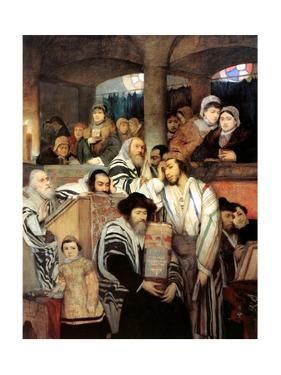 Jews Praying in the Synagogue on Yom Kippur, 1878 by Maurycy Gottlieb