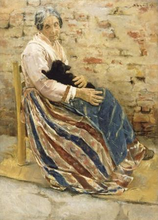 An Old Woman with Cat by Max Liebermann