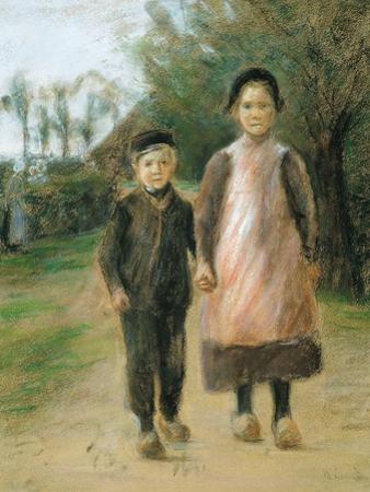 Boy and Girl on a Village Street, Ca 1897 by Max Liebermann