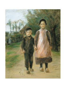 Boy and Girl on a Village Street, Ca 1897 by Max Liebermann