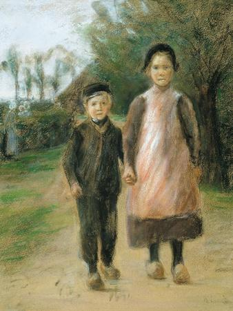 Boy and Girl on a Village Street, Ca 1897