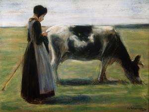 Girl with Cow, 19th Century by Max Liebermann