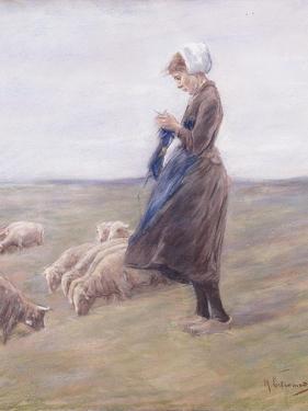 Shepherdess; Schafhirtin, 1887 by Max Liebermann