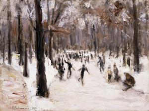 Skaters in the Tiergarten, Berlin; Eislaufer Im Berliner Tiergarten, 1924 by Max Liebermann